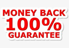 Money Back 100% Guarantee Red Sign. Simple vector Stock Image