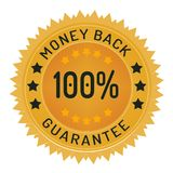 Guarantee stamp. 100% money back guarantee ribbon and badge style design element on white background stock illustration