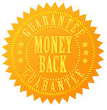 Money back guarantee seal. Money back guarantee gold seal royalty free illustration