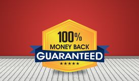 100% Money Back Guarantee Seal on 3D Room illustration.  Royalty Free Stock Photography