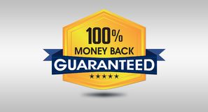 100% Money Back Guarantee Seal on White background.  Stock Photo