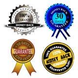 Money Back Guarantee. Set of money back guarantee badge illustrations royalty free illustration