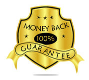 Money Back Guarantee Shield and Banner. A golden 100 % money back guarantee shield with ribbon banner Stock Photo
