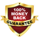 Money Back Guarantee. A gold and red colored shield for business and finance. 100% money back guarantee icon to place on your or your clients quality product Stock Image
