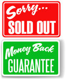 Money Back Guarantee Sorry Sold Out store signs. Two retail store window style signs Money Back Guarantee Sorry Sold Out royalty free illustration