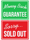Money Back Guarantee and Sorry Sold Out store signs Royalty Free Stock Photos