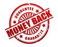 Money back guarantee stamp concept 3d illustration. Money back guarantee stamp 3d illustration isolated on white background stock illustration