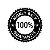 Money Back Guarantee 100% sticker. Badge label black flat. Vector EPS 10 stock illustration