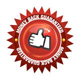 Money back guaranteed. The Illustration of a gold seal and red ribbon with the message Satisfaction 100% Guaranteed stock illustration