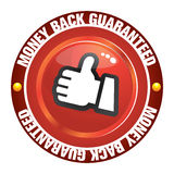 Money back guaranteed. The Illustration of a gold seal and red ribbon with the message Satisfaction 100% Guaranteed royalty free illustration