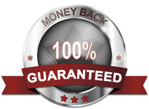 Money back 100% guaranteed. Badge Stock Image