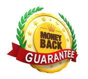 Money Back Guaranteed Label. Isolated on white background. 3D render Stock Illustration