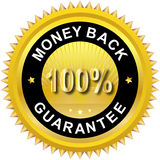 Money back label. Illustration of 100% Money Back Guarantee Stock Photo