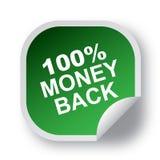 100 money back label. Sticker - editable vector illustration on isolated white background Stock Illustration