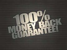 Money back message on metalic mesh background Royalty Free Stock Photography