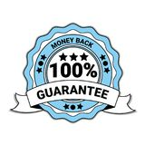 Money Back With 100 Percent Guarantee Emblem Blue Medal With Ribbon Isolated. Vector Illustration royalty free illustration