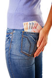 Money in back pocket Stock Photos