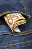 Money in a back pocket Stock Photography