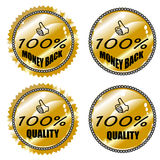 Money back & quality label Stock Images