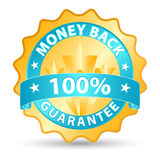 Money back ribbon. In blue and gold tones Stock Photos