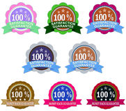 Money-back and satisfaction guarantee seals set Stock Photography