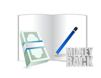 money back sign and cash bills Royalty Free Stock Image