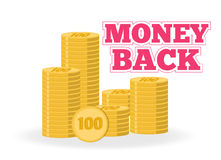 Money back. Stack of gold coins. Vector emblem into flat style. Stock Image