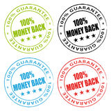 Money back stamps. Guarantee set Stock Photo