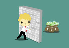 Money back the wall. Businessman try to push the wall for get money Royalty Free Stock Photos