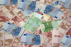 Money backgound. Of euro banknotes Stock Images
