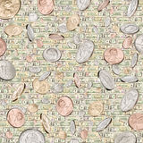 Money Background. American coins raining down with a wall of bills in the background Stock Image