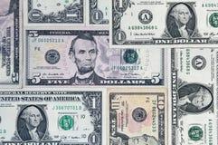 Money Background. Background of various US dollar bills Stock Image