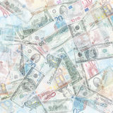 Money background. From translucent euro and dollars Stock Photos