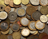 Money background. Background from different countries coins Stock Photo