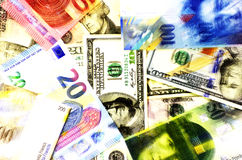 Money background american dollars, euro and swiss franc. Royalty Free Stock Photos