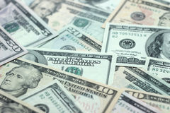 Money background - blurred American dollars Stock Photos