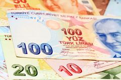 Money Background. Colorful Turkish banknotes as a background Royalty Free Stock Photos
