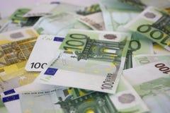 Money background. Euros. Money Background with euros hundred and two hundreds bills Stock Photos