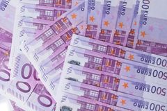 Money background - Five hundred 500 euro bills banknotes. Pile, top view stock photos