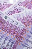 Money background - Five hundred 500 euro bills banknotes. Pile, top view royalty free stock images