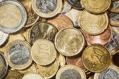 Money Background - Large Pile of Euro Coins Royalty Free Stock Photos