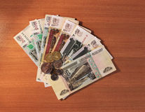 Russian money on a wooden table Stock Photography
