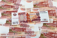 Money background of russian roubles. Royalty Free Stock Photos