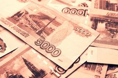 Money background with russian ruble Royalty Free Stock Photo