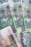 Money background stacked many Polish banknotes Stock Images