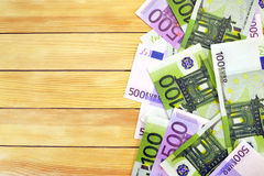 Money on the background wooden boards Royalty Free Stock Photos