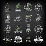 Money badge and logo design. Quote text.Vector with graphic. Stock Photography