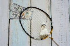 Money and badminton shuttlecocks. On wooden background Stock Photos