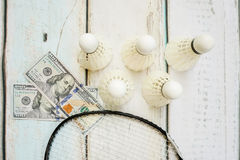 Money and badminton shuttlecocks. On wooden background Royalty Free Stock Photography