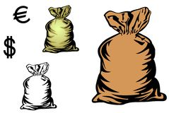 Money bag. In three variations with currency symbols for design Royalty Free Stock Photography